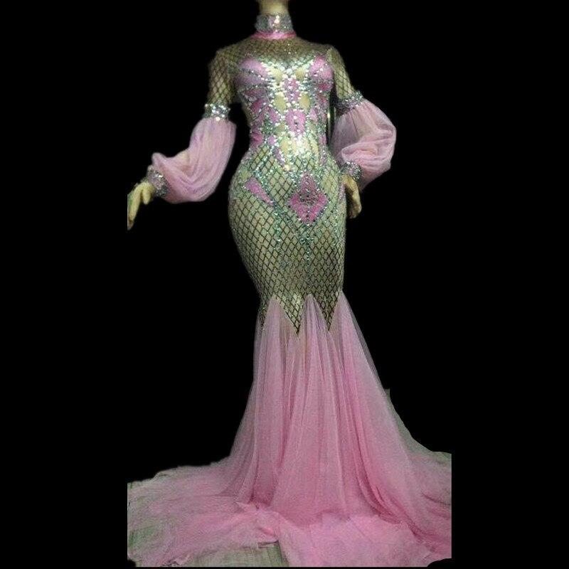 Femmes Sexy rose longue robe cristaux scintillants discothèque fête célébrer Performance danseur chanteur scène porter Bling danse Costume