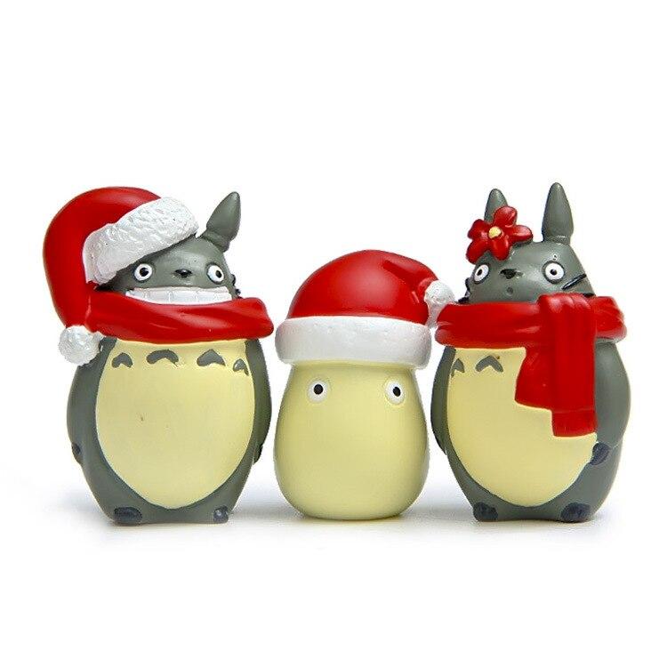 3pcs lot Miyazaki Hayao Classic font b Anime b font My Neighbor Totoro Christmas Edition Minifigure