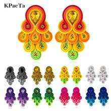 KPacTa Fashion Soutache Handmade Long Earring Ethnic Jewelry Women Crystal Decoration Peacock Tail Shape Drop Earring Oorbellen