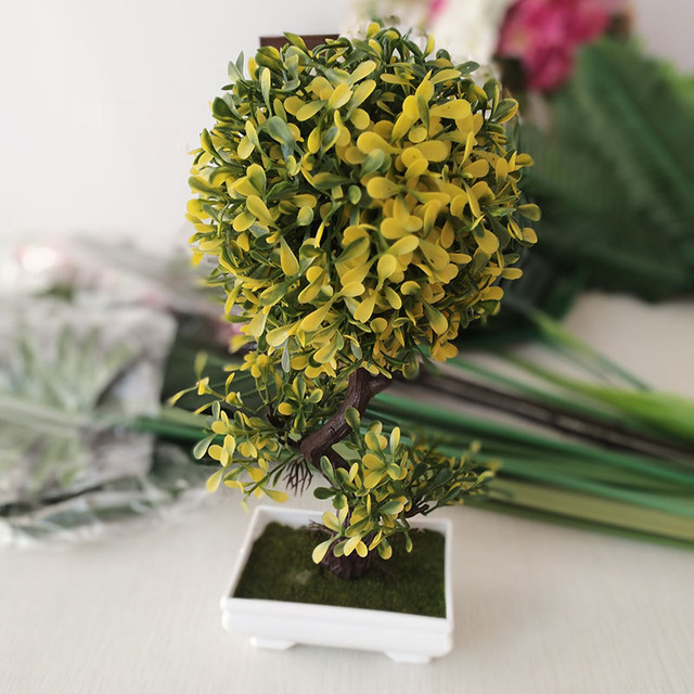 Artificial Plants Potted Tree Spherical Flower Bonsai Fake Flowers