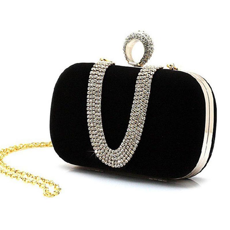 Women Rhinestone Clutch Handbag Ring Shoulder Chain Handbag Bridal Wedding Party Bag Bolsa Mujer Pearl Evening Clutch for Female
