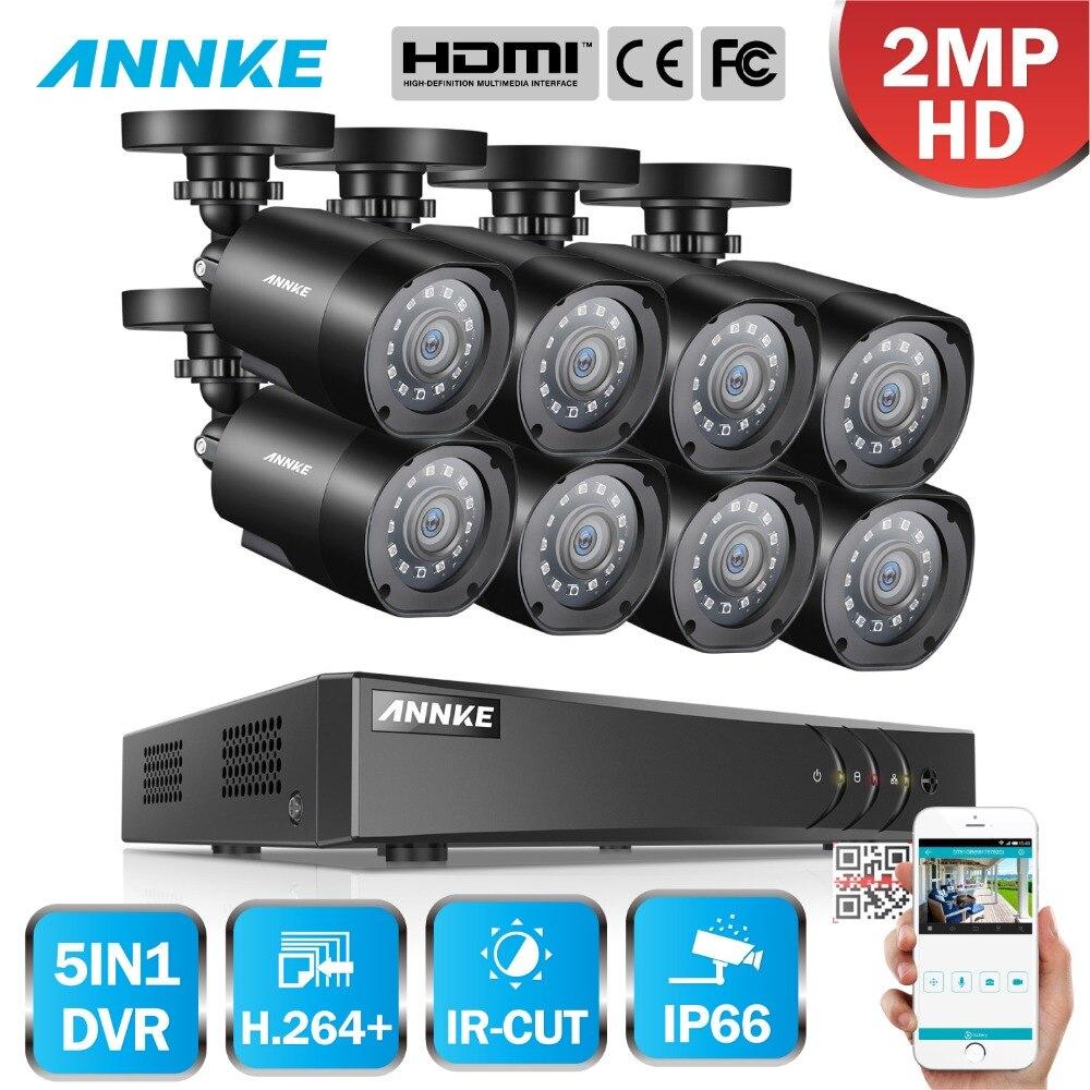 ANNKE 1080 p FHD 5in1 8CH Lite H.264 + DVR 1080 p HD TVI Smart IR Della Pallottola Impermeabile Telecamere di Sicurezza sistema di sorveglianza CCTV