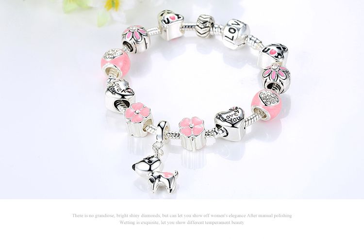 Cute Pink Pet Dog Silver Charm Bracelet HTB1Gr