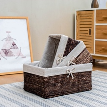 Straw basket storage gift corn husk woven for sundries table snack food baskets boxes with fabric lining living room use