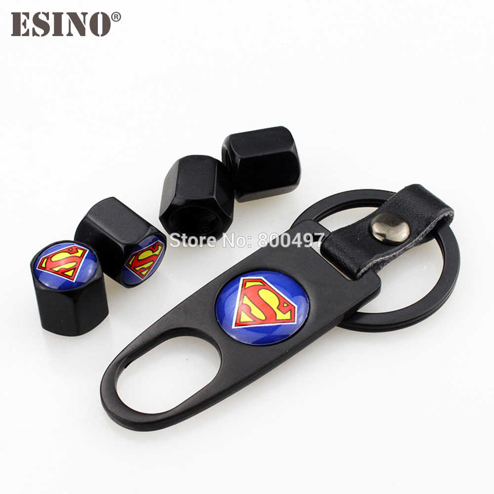 4 x Estilo Do Carro Liga de Zinco de Aço Inoxidável Válvula do Pneu Da Roda Hastes Caps Superman Universal Com Mini Chave chave Cadeia