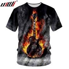 UJWI Summer Tops Tees 3D Printed Flame Guitar T Shirts Casual Men/Women Wear Fashion Streetwear O-neck T-shirt Plus Size Punk