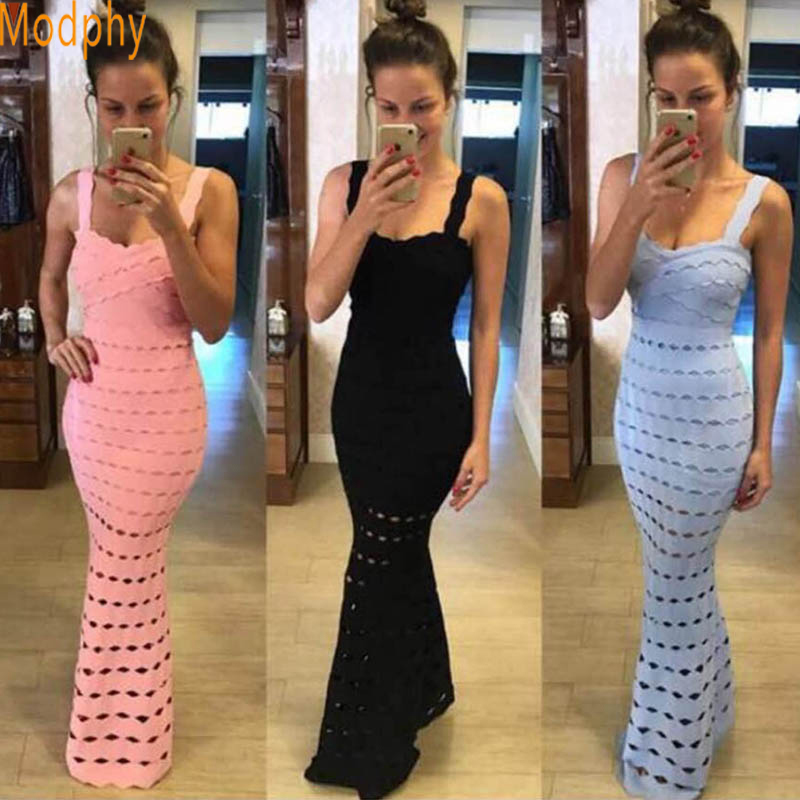 2017 New Sexy Trumpet Mermaid Elegant ruffles Bandage Dress Women Floor Length Long hollow out Evening Party Drop shipping HL363