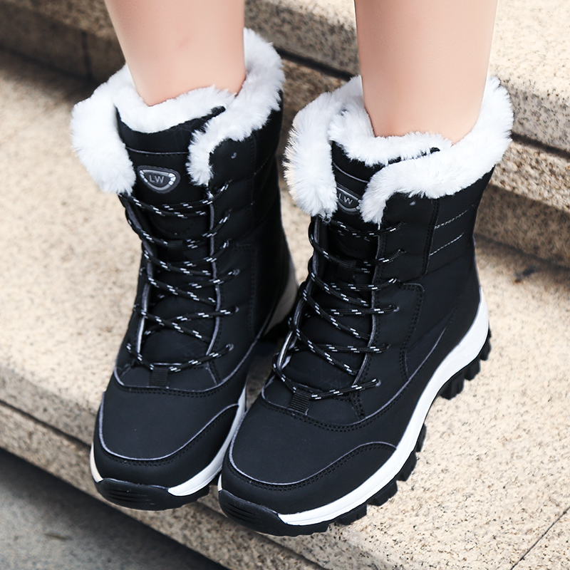 Image 3 - Waterproof Snow Boots Womens Shoes With Fur Winter Warm Flats Ankle Botas Anti slip Female Sneakers Zapatos Mujer Big Size 42-in Ankle Boots from Shoes