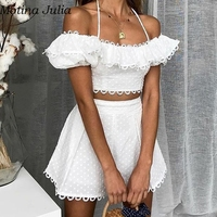 Motina Julia Sexy white lace jumpsuit romper Summer elegant short party women two piece set playsuit Casual beach romper