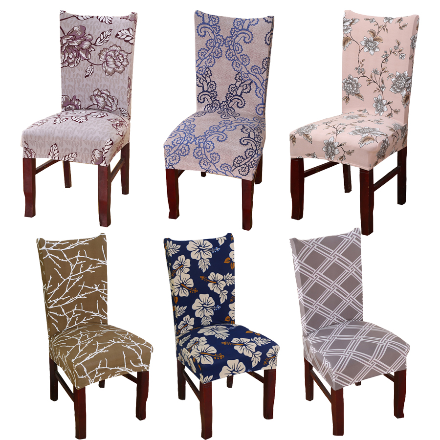 Comwarm Stretch Spandex Polyester Dining Room Chair Covers Geometric Floral Universal Kitchen Seat Cover Protector Chair Case