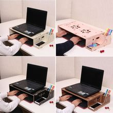Computer Monitor Stand Riser Wood Laptop Shelf Notebook Tablet Keyboard Desk Organizer Adjustable Height Phone Holder