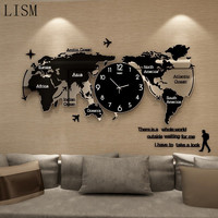 Nordic style creative 3D acrylic wall clock world map type large silent wall clock home hotel wall decoration unique personality
