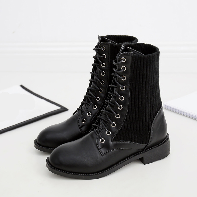 Tacón Lace De Militar Combate Las Bloque Ymechic Para Botas Tobillo Negro Otoño Mujeres Medio Goth Up Knitting Moto Zapatos q5v4Pf