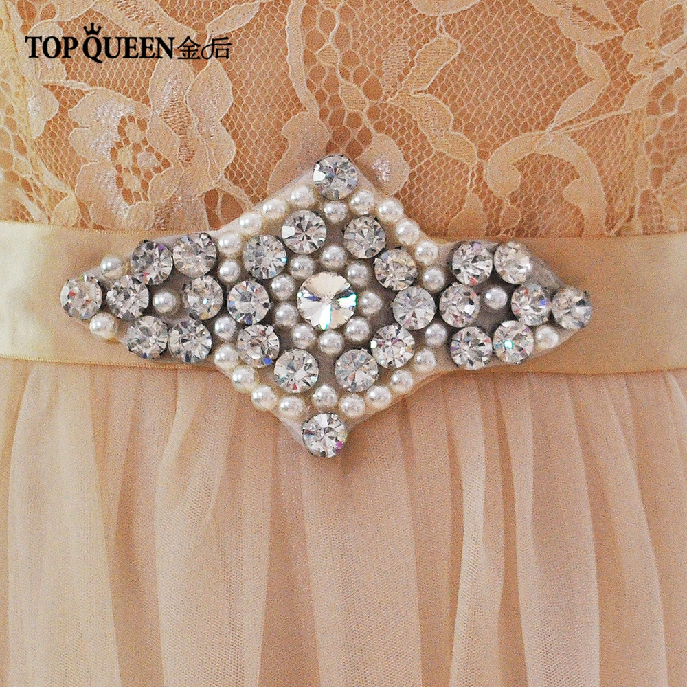 Unique Wedding Dress Sashes Belts: TOPQUEEN S196 Designer Belts Rhinestone Bridal Belt