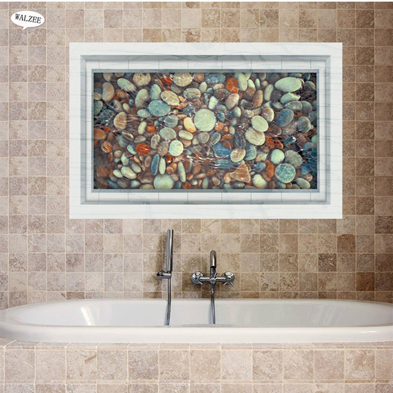 Pebbles Pond 3D Floor Stickers Bathroom Decoration Fake Window Vinyl Living  Room Greative Wall Sticker Decals Decor Poster Mural In Wall Stickers From  Home ...