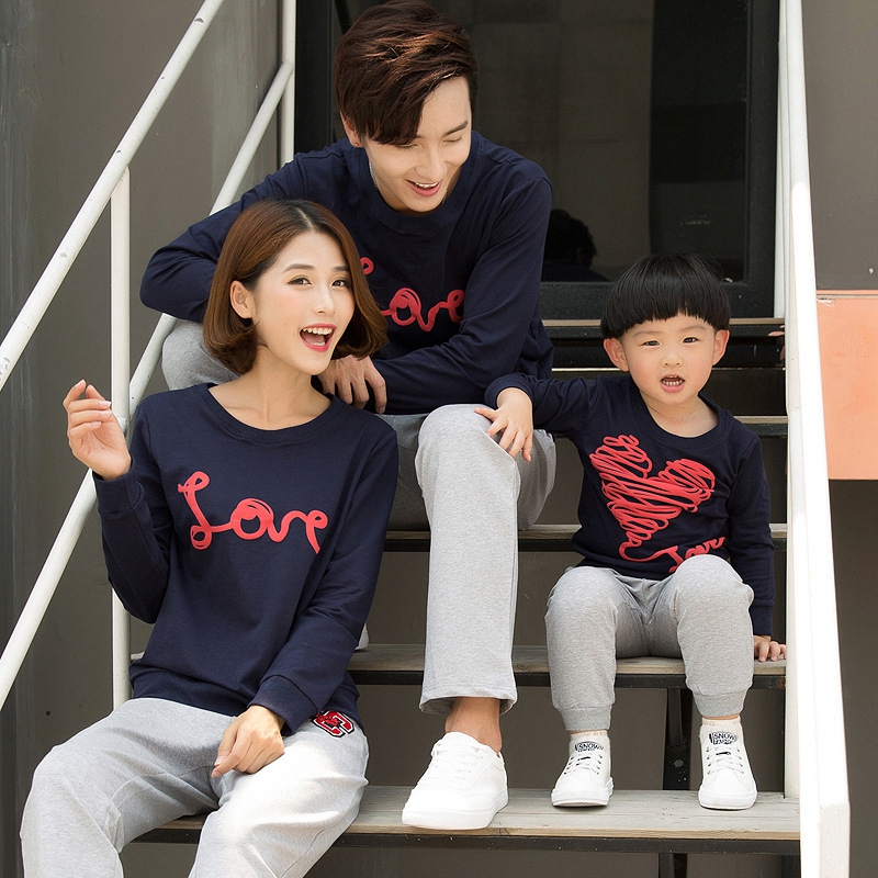 Family Matching Outfits Mom Dad Kids Long-Sleeved Cotton
