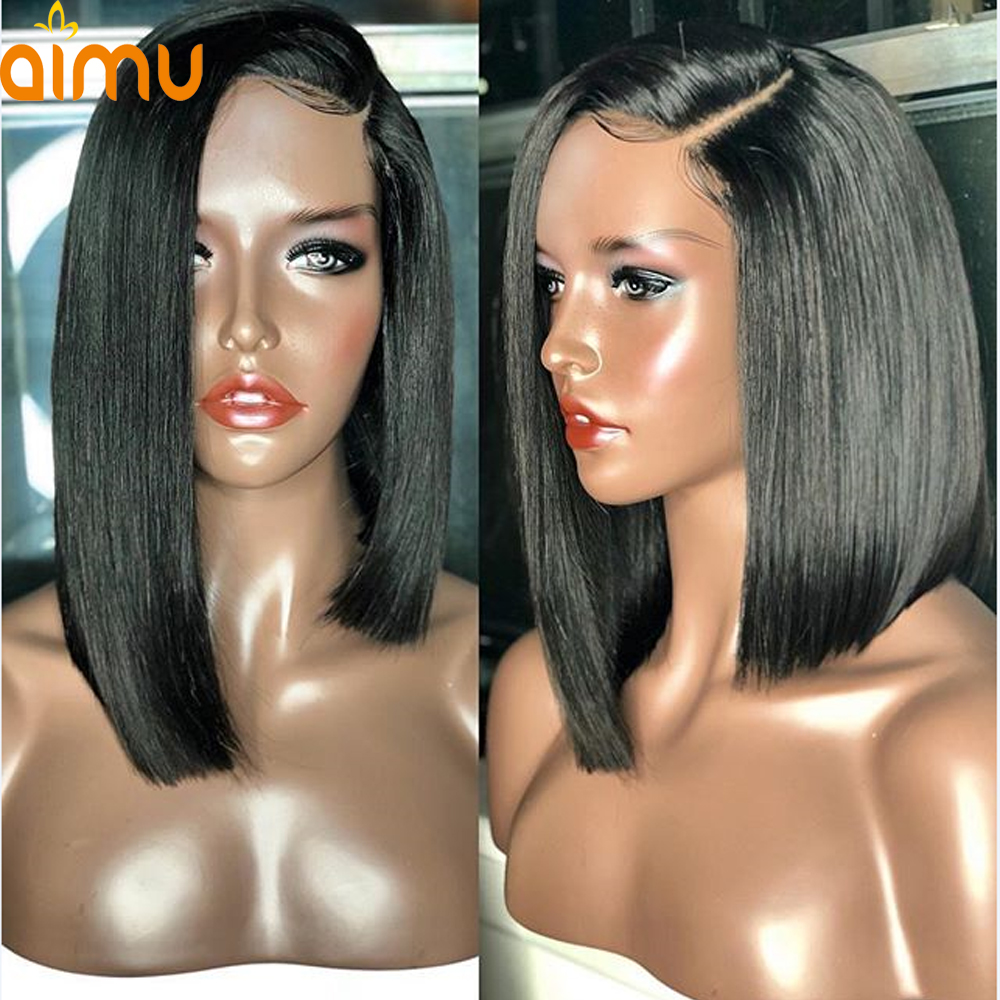 13X6 Deep Part Bob Lace Front Wigs With Baby Hair 250 Density Pre Plucked Brazilian Virgin Human Hair Short Wig For Black Women