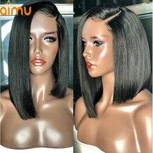 13X6 парики из натуральных волос на кружевной основе с волосами младенца, 250 плотность, предварительно сорванные бразильские виргинские человеческие волосы, короткий парик для черных женщин