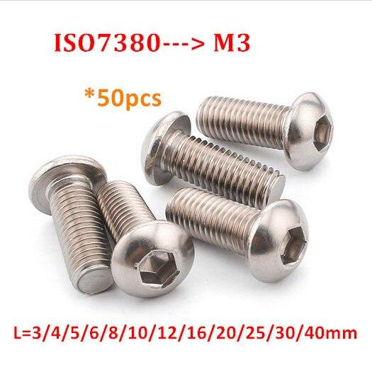 100/piezas acero inoxidable M2/bot/ón cabeza hexagonal tornillos de rosca Full