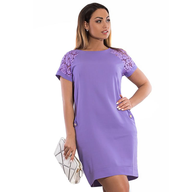US $11.99 44% OFF|2018 summer women dress lace sleeve 5xl 6xl plus size  midi dress with pocket loose straight elegant dress casual party dress-in  ...
