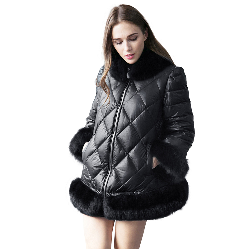 New Women Faux Fur Leather Parka Coat Winter Thick Warm Fur Collar Cotton Jacket Overcoat Plus Size Long Sleeve Loose Outerwear