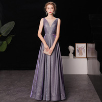 cheap 2019 Cocktail Dress Shining Gradient Color Purple Formal Dresses Little Crystal V neck Tank Lace Up Long Party Gown