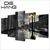 5 Painting Wall Art Canvas Modern Painting London Street Black And White Printed City Pictures Home