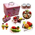 kids girls Hobbies Pretend Play Kitchen Toy Fine wood simulation chocolate strawberry cake group box Cake division colorful