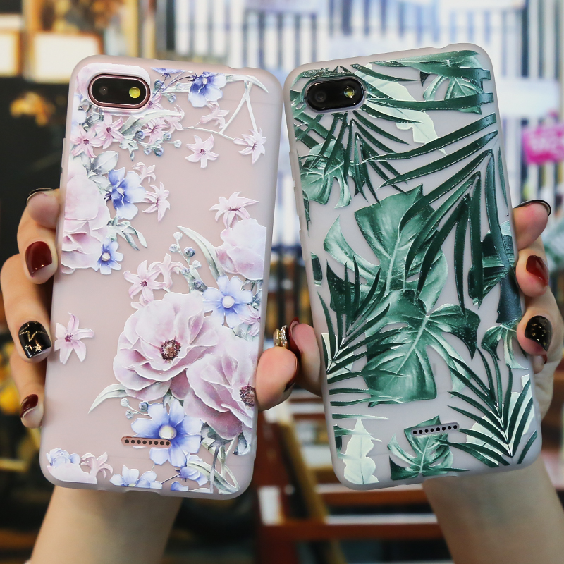 Case For <font><b>Xiaomi</b></font> <font><b>Redmi</b></font> <font><b>6A</b></font> 5A 4A Case Silicone Matt 3D <font><b>Redmi</b></font> 5 6 A 7 8 Mi 9T Funda Back Cover Flowers Redmi5 Plus Bumper Soft TPU image