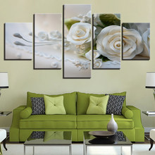 Canvas HD Prints Pictures Modular Wall Art Posters Framework 5 Pieces White Roses Flowers Paintings For Living Room Home Decor(China)