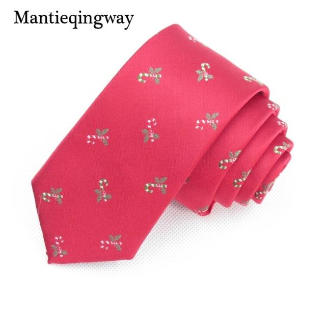 mantieqingway christmas ties mens necktie polyester santa clau neck