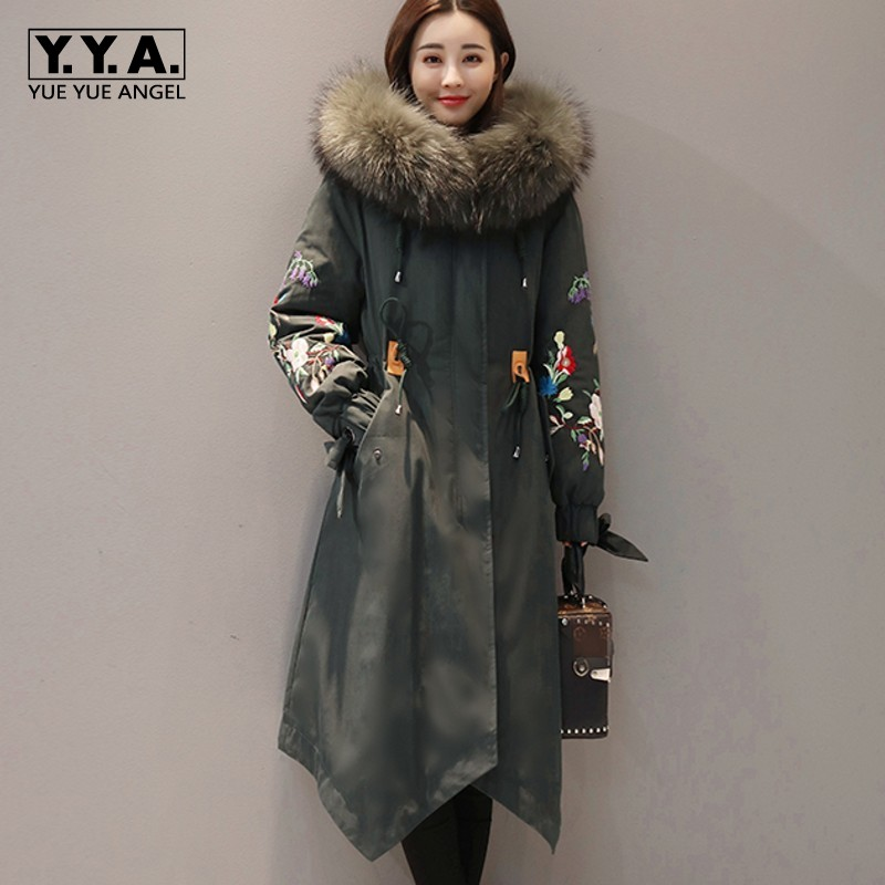new concept 0d862 89d94 US $99.92 43% OFF|Olive Green Down Jacket Womens Long Parka Coats Womens  Big Fur Collar Jackets Women Winter Warm Overcoat Female Casaco Feminino-in  ...