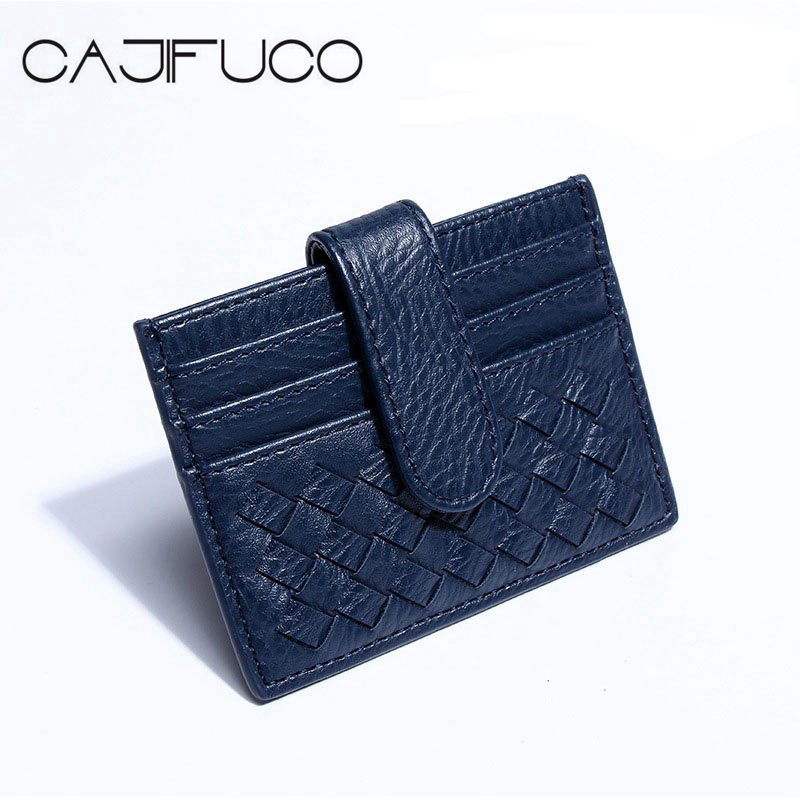 Korean Style Men And Women Porte Carte Weave Credit Card Holder Hasp Coin Purse Knitting Card