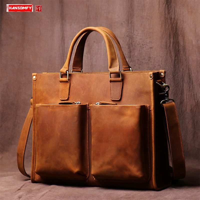 Retro Leather Men's Handbag Cross Section Briefcase Leather Computer Bag Manual Messenger Bag Crazy Horse Leather Shoulder Bags