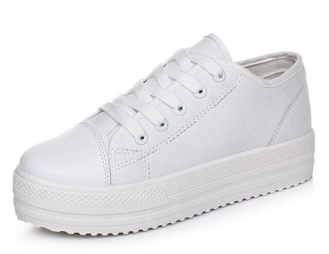 Мода твердые Холст женская обувь черный белый случайные туфли на платформе 2017