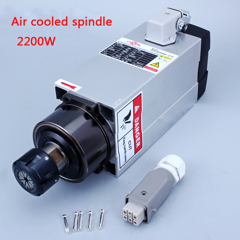 Square <font><b>2.2kw</b></font> <font><b>Air</b></font> <font><b>cooled</b></font> <font><b>spindle</b></font> runout-off 0.01mm, 220V <font><b>Spindle</b></font> motor,for Ceramic bearing,Engraving milling grind image