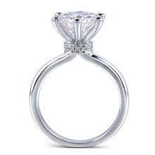 TransGems 4 carat Real Gold 14K Semi Mount Jewelry Micro Paved Prongs Setting Fine Diamond Moissanite Engagement Ring