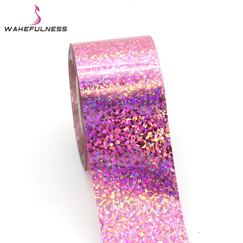 120M*4CM Starry Sky Pink Cat's Eye Holographic Nail Transfer Foils Rainbow Laser Nail Art Stickers Decals Manicure Decorations 120m 4cm 1 roll holo nail transfer foils laser red fine sand nails art transfer stickers manicure nail art decorations tips