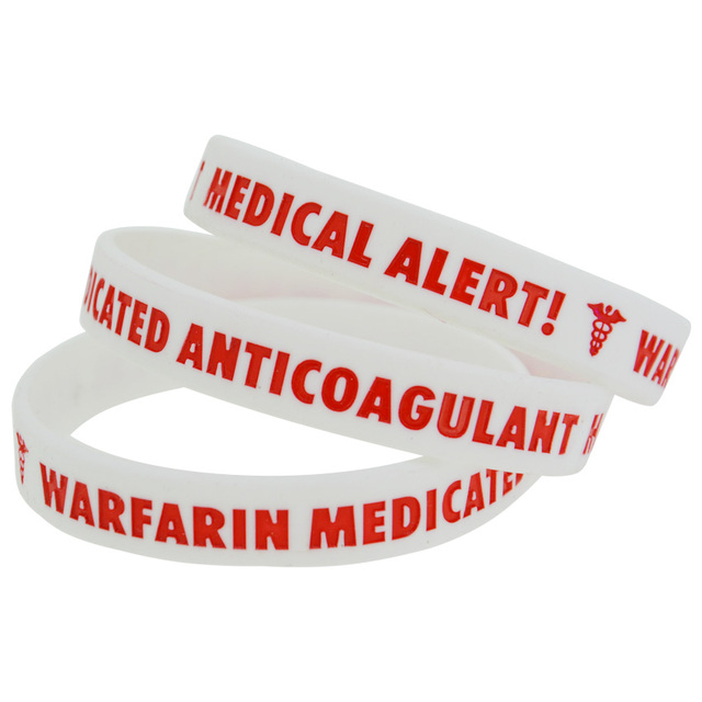 50pcs Lot Medical Alert Warfarin Medicated Anticoagulant Silicone Filled In Colour Wristband Bracelet