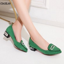 CDAXILAN new arrivals women pumps middle heels kid suede poined toe shoes square heel sweet ladies casual green