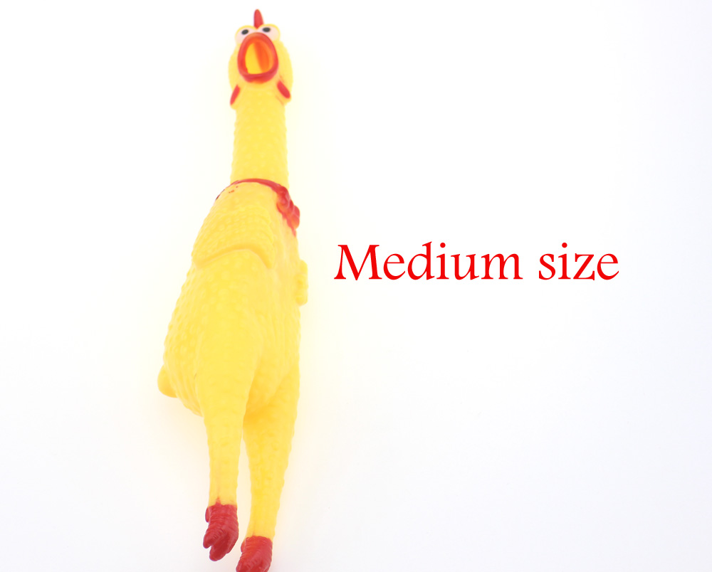 16cm Rubber Screaming Chicken Squawking Shrilling Chicken for Pet Dog Fun Novelty Squeeze Vent Toys as Gifts