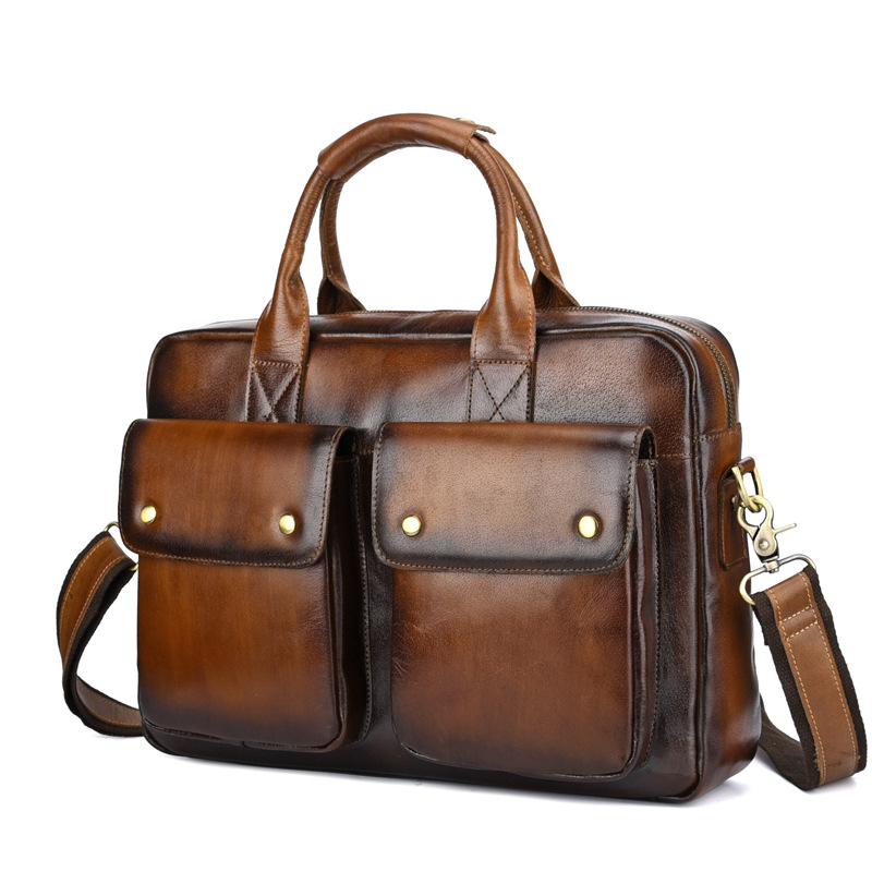 Genuine Leather Bag Men Briefcase Vintage Messenger Bag Business Men Leather Laptop Handbag Hand Bags Bolso Hombre Mensajero
