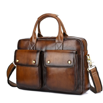 Genuine Leather Bag Men Briefcase Vintage Messenger Bag Business Men Leather Laptop Handbag Hand Bags Bolso Hombre Mensajero hongyandaishu men business briefcase genuine leather casual computer laptop handbag bag fashion men s travel bags maletin hombre