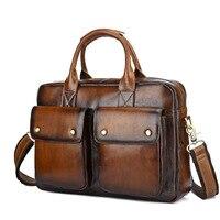 Genuine Leather Bag Men Briefcase Vintage Messenger Bag Business Men Leather Laptop Handbag Hand Bags Bolso Hombre Mensajero