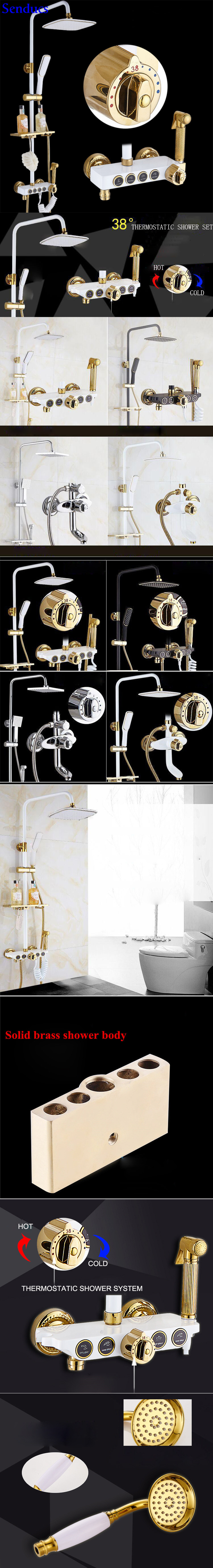 Senducs Chrome Thermostatic Shower Set Classic Bathroom Shower System With Cheap Price Brass Bathroom Top Shower Set Shower System Aliexpress