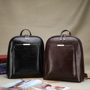 Image 2 - Women Backpack high quality PU Leather  Fashion Backpacks Female Feminine Casual Large Capacity Vintage Shoulder Bags