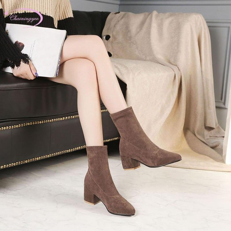 bb59eaecda Preto brown Montaria Moda Femininos Boots Chinês De Casuais Cinto Ankle  Botas Salto Nubuck Estilo Sapatos Elástico ...