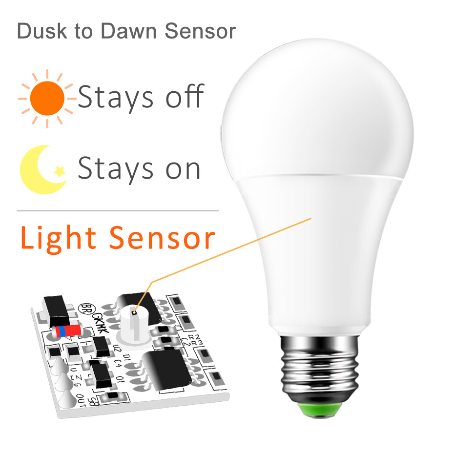 IP44 LED Sensor Bulb Automatic Dusk To Dawn Bulb Day Night Light 10W 15W Spotlight Orange Yellow/Warm White/White For Home