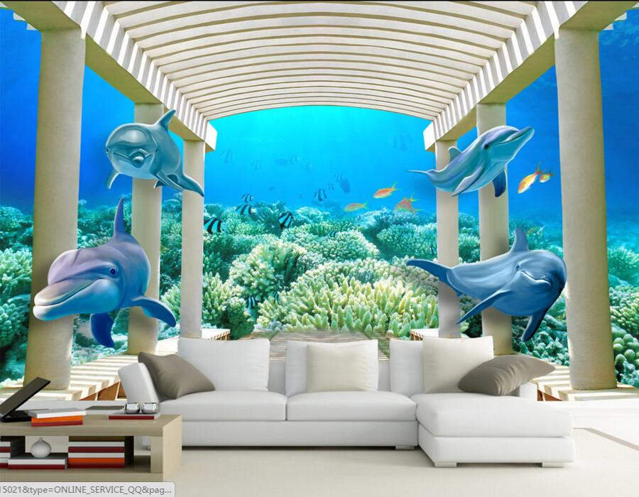 Aliexpress Com Buy Large Custom Mural Wallpapers Living: Popular Dolphin Wallpaper-Buy Cheap Dolphin Wallpaper Lots