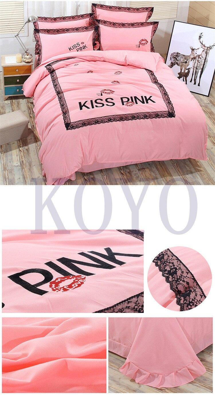 Vs pink bedding sets - Winter Brand Vs Secret Pink Print Embroided Fashion Cotton Victoria Bedding Set Bed Sheets 4pcs Duvet Cover Set Bedspread